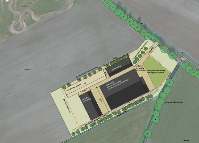 Erfinrichting voor het nieuwe vleesveembedrijf aan de Peppelweg in Rheeze